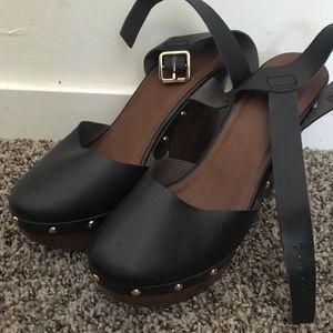 Black wooden high heels